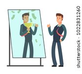 businessman looking himself... | Shutterstock .eps vector #1022831260