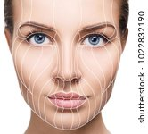 graphic lines showing facial... | Shutterstock . vector #1022832190