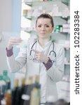 happy cheerful pharmacist...   Shutterstock . vector #102283384