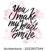 you make my heart smile... | Shutterstock .eps vector #1022837344