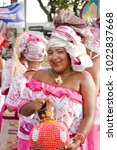 Small photo of Recife, Brazil - February 8th, 2018: Portrait of a female dancer carnival parade. The comparsas and dancers parades from Av Rio Branco to the stage at the waterfront.