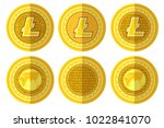 set of flat golden coin with... | Shutterstock .eps vector #1022841070