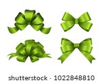 Set Of Green Gift Bows. Vector...