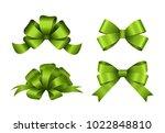 Set Of Green Gift Bows. Vector...