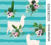 llama and cactus seamless... | Shutterstock .eps vector #1022852923