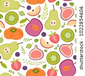 seamless pattern with healthy... | Shutterstock .eps vector #1022854606