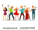 group of young people singing... | Shutterstock .eps vector #1022857039