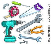 set of carpentry tools  drill ... | Shutterstock .eps vector #1022858329