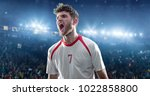 happy soccer player celebrate a ... | Shutterstock . vector #1022858800