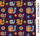 cute children's pattern with... | Shutterstock .eps vector #1022864824