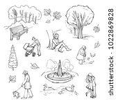 vector collection of sketches... | Shutterstock .eps vector #1022869828