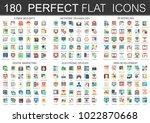 180 vector complex flat icons... | Shutterstock .eps vector #1022870668