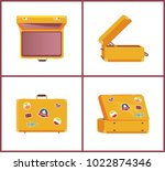 set of retro suitcases from... | Shutterstock .eps vector #1022874346