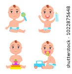 set of newborn toddler infants... | Shutterstock .eps vector #1022875648