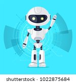 robot with raised arm and... | Shutterstock .eps vector #1022875684