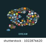 travel icons are grouped in... | Shutterstock .eps vector #1022876620