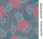 pink  grey and blue palm tree... | Shutterstock .eps vector #1022876998
