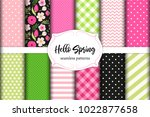 set of cute seamless hello... | Shutterstock .eps vector #1022877658