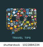 travel icons are grouped in... | Shutterstock .eps vector #1022884234