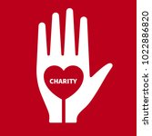 icon charity. hand with heart... | Shutterstock .eps vector #1022886820