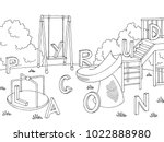 playground graphic black white... | Shutterstock .eps vector #1022888980