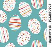 white easter eggs seamless...   Shutterstock .eps vector #1022890108