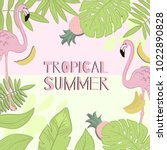 frame vector tropical summer.... | Shutterstock .eps vector #1022890828
