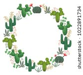 wreath with cacti  succulents... | Shutterstock .eps vector #1022891734