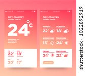 weather forecast app ux ui... | Shutterstock .eps vector #1022892919