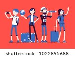 travelers group with luggage....   Shutterstock .eps vector #1022895688
