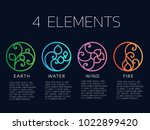 nature 4 elements in coil line... | Shutterstock .eps vector #1022899420