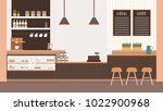 coffee house in warm colors.... | Shutterstock .eps vector #1022900968