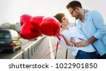 couple hugging and kissing... | Shutterstock . vector #1022901850