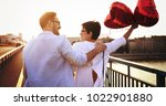 young couple in love dating and ... | Shutterstock . vector #1022901880