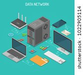 data network isometric business ... | Shutterstock .eps vector #1022905114