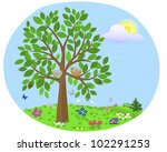 tree with birds and nest on the ...   Shutterstock . vector #102291253