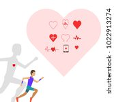 man running for heart | Shutterstock .eps vector #1022913274