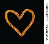 the fiery heart on the black... | Shutterstock .eps vector #1022913850
