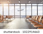 clean airport waiting area... | Shutterstock . vector #1022914663