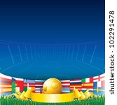Football Background. Euro 2012 Championship Flags and Golden Soccer Cup.