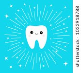 healthy white tooth icon with... | Shutterstock .eps vector #1022918788