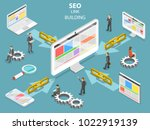 seo link building flat... | Shutterstock . vector #1022919139