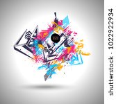 graffiti vector background with ... | Shutterstock .eps vector #1022922934