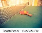 tabletennis  and balls on table. | Shutterstock . vector #1022923840