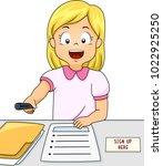 illustration of a kid girl... | Shutterstock .eps vector #1022925250