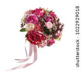 beautiful bouquet in red and...   Shutterstock . vector #1022929018