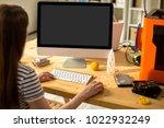 over shoulder view of... | Shutterstock . vector #1022932249