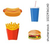 icons set lunch with hamburger  ... | Shutterstock .eps vector #1022936140