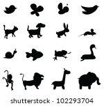 animal silhouettes for zoo ... | Shutterstock .eps vector #102293704