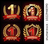 one year anniversary banner set ... | Shutterstock .eps vector #1022948590